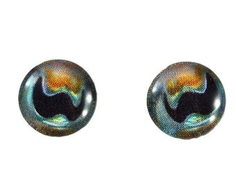 SALE 10mm Cuttlefish Glass Eye Cabochons - Taxidermy Eyes for Doll or Jewelry Making - Set of 2