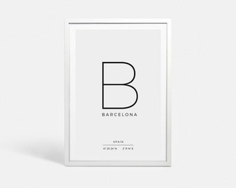 Digital print Instant download Latitude longitude GPS Coordinates sign Digital poster download Barcelona art print Barcelona wall art decor