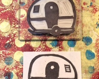 Hand carved bubble camper rubber stamp