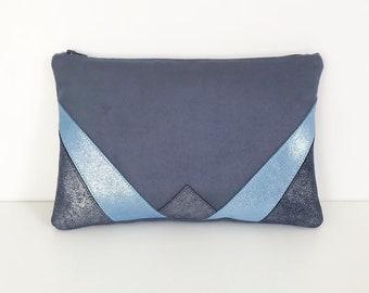 Blue glitter suede and Navy/Sky Blue Velvet clutch