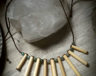 Bamboo necklace and mousse agate