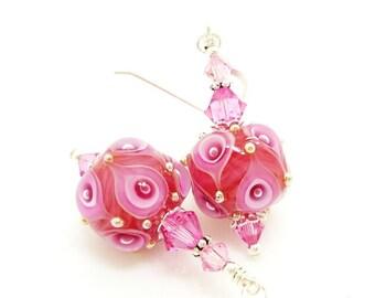 Pink Earrings, Lampwork Earrings, Glass Earrings, Glass Bead Earrings, Unique Earrings, Unusual Earrings, Cute Earrings, Glass Bead Jewelry