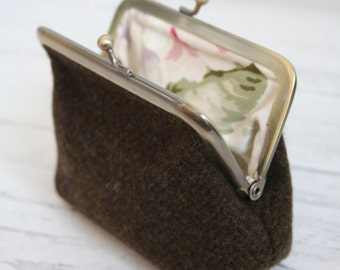 Brown tweed clasp purse with floral lining