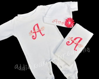 Personalized Baby Girl Sleeper, Beanie Hat, and Burpcloth Combo with Flower