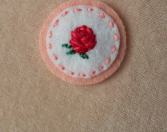 Red Rose Badge (Patch, Pin, Brooch, or Magnet)
