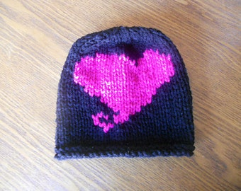 Be Mine Valentine Baby Hat - Hand-Knit in Black with Fushia Pink Heart
