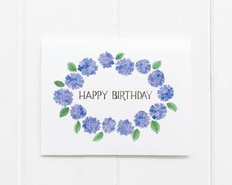 Hydrangeas Birthday Card / Floral Birthday Card / Botanical Card / Watercolor Card / Hydrangeas / Flowers Card / Gifts for Her / Garden Card