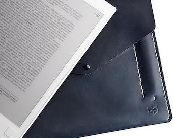 Blue Leather Remarkable Tablet Folio, Handstitched Case With Marker Holder, Paper Tablet Sleeve. Custom Monogrammed Gifts For Him.