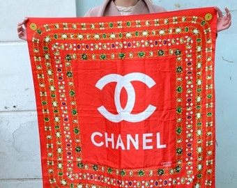 Chains coins scarf Paris France chanel red scarf shawl large Square scarf fashion accessories gift for her wife Square satin scarf
