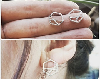 Geometric Mismatched Hexagon Stud Earrings