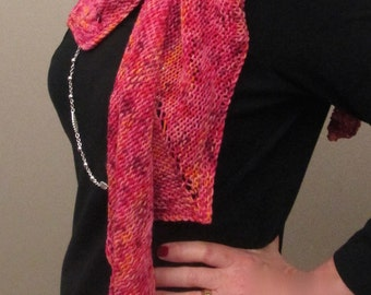 Vivid Pink Tangerine Merino Wool Scarf