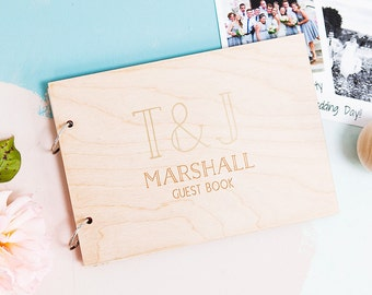 Personalised Initials Wedding Wedding Memory Book - Wedding Book - Wooden Guest Book - Engagement Gift - Wedding Guest Book - Couples Gift