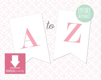 Printable Pennant Banner with entire alphabet, Pink and White Banner, White Banner with Lipgloss, Pink Letters, Instant Digital Download