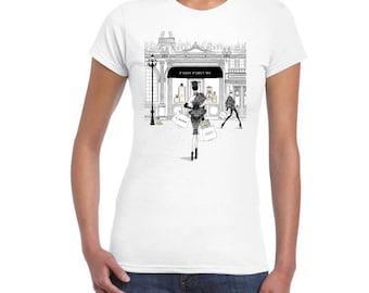 Paris Perfums Artistic Design On Ladies Junior Fit T-Shirt..!