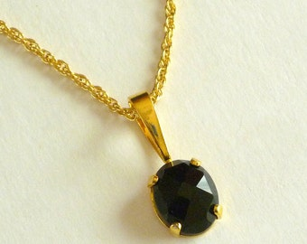 Vintage Black Glass Stone Pendant with Chain