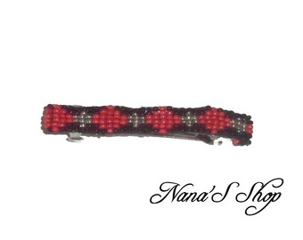 hair clip, woven, black and red beads