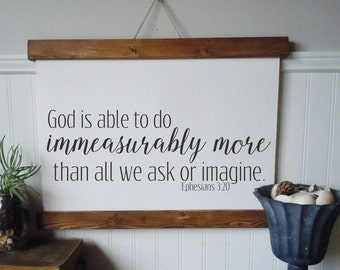 God is able to do immeasurably more/canvas art print/Ephesians 3:20/wall decor/home decor