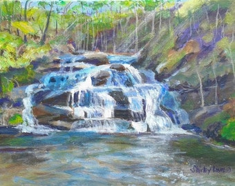 Mountain waterfall painting, Panthers Creek Falls painting, Georgia mountain scene, original painting 10x16, Shirley Lowe, waterfall art