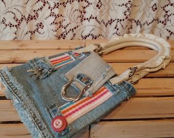 Sacoche fait main, Handmade bag, Bandouilère fait à la main, Handmade purse