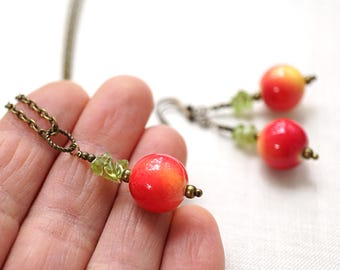 Mothers Day Gift Idea Red Apple Necklace or Earrings Teacher Gifts Snow White Summer Nature Garden Green Gemstone Raw Crystal Necklace