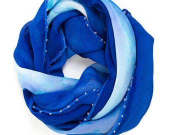 Blue Bead-lined Silk Chiffon Scarf: Santorini