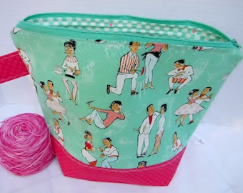 Large Zipper Project Bag, Nostalgic 50's Sock Hop Diner theme, Large Size, Shawl to Sweater Wedge, Tote Bag