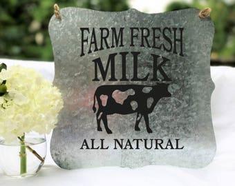 Farm Fresh Milk Sign, Farm Fresh Milk, Metal Sign, Wall Decor, Home Decor, Custom Sign, Rustic Wall Decor,  Front Door Sign