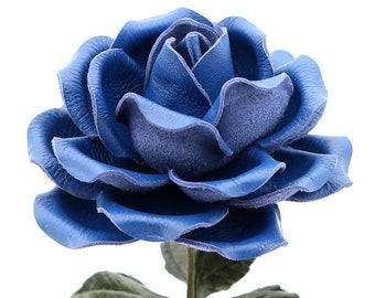 Leather Rose Cobalt Blue Leather Flower Large Third Wedding Stem Leather Flower Valentine's Day 3rd Leather Ninth 9th Anniversary Gift