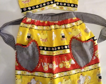 "Handmade ""Vintage"" Chicken Half Apron with two Hot Pads"