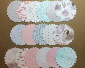 "50 - 2 1/2"" Scalloped Circles Assorted Prints  Set S3"