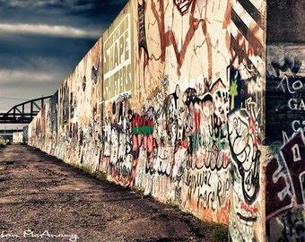 The Wall, Graffiti Photography, Urban Art, Street Photograph, Wall Art, Home Decor, Office Decor, Contemporary, Blue, Brown, Office Decor