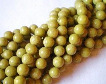 20 Gemstone Beads chrysocolla 10mm earth yellow green jewelry supply