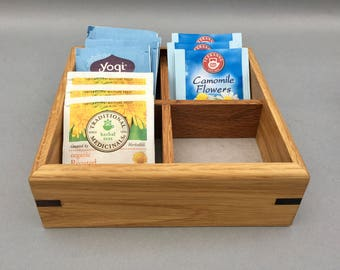 Tea Box, Tea Caddy with 4 Compartments, Solid Oak, Handmade, Gift