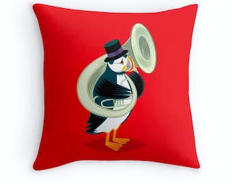 """Puffin On A Tuba - Children's room - Nursery Decor Cushion Cover - Throw Pillow Cover 16"""" x 16"""" by Oliver Lake iOTA iLLUSTRATiON"""
