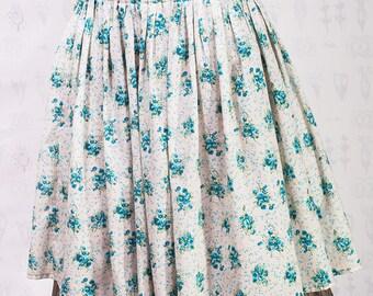 Midi flowered cotton boho summer skirt