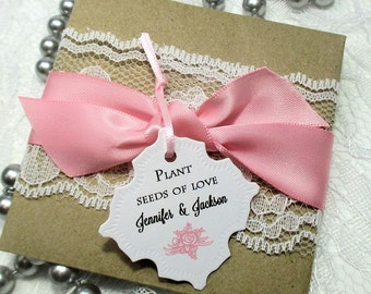 10 Elegant Wedding Favors - Wildflower Seeds - Lace and Ribbon - Personalized - 20 Seed Packets - Seeds of love