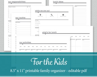 Family Organizer Printable - Chore Charts, Daily Schedule, Activity and Lunch Planner, Babysitter Printable - Editable PDF - Letter Size
