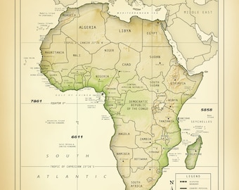 "AFRICA & Madagascar  11 x 14 ""Vintage Inspired"" Country Boundaries Map"