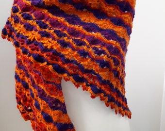 Triangular cloth crocheted from Schoppel wool crazy magic ball Fuchsienbeet handmade, crochet