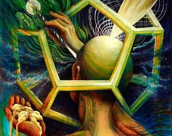 The Painter. Original Visionary Art by Annie Kyla Bee. Goddess Art, Bee Alchemy Snake Medicine, Ayahuasca Healing Art