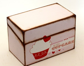 Recipe Box Wood Pink and Red Cupcake READY TO SHIP Fits 4x6 Cards