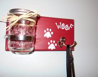 Dog Treat Holder  Dog Leash Holder Rustic Key Holder Entryway Organizer Wall Mason Jar Hanging Mason Jar Hanging Mason Jars Mason Jar Decor