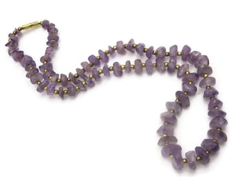 Amethyst Nugget Necklace - February Birthstone Beaded Necklaces for Women, Amethyst Jewelry
