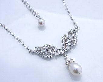 NATALIE - Wedding Necklace + Earrings, Bridal Necklace SET, Pearl Drop Necklace, Crystal Necklace, Cubic Zirconia Necklace, CZ Earrings