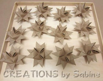 Paper Stars Folded Kraft Brown set of 12 Neutral Earthy Crafty Ornaments Froebel Moravian star Origami Decoration Favors READY TO SHIP (148)