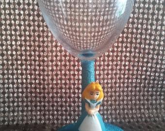 Alice in wonderland inspired wine glass