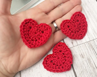 Crochet Hearts, Crochet Heart Appliques, set of 5 red hearts.