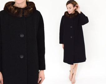 60s Black Wool Coat   Wool Coat & Mink Collar   Large
