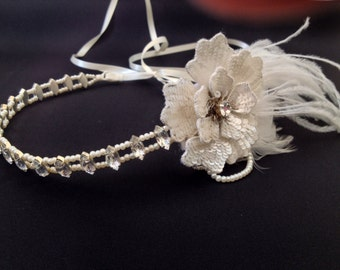 Bridal headband - wedding headpiece - 1920s headpiece - Gatsby head piece -1920s Art deco style flapper -headpiece - Wedding Headband