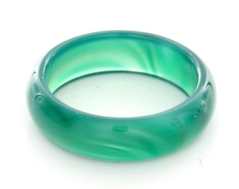 Natural Green Agate Gemstone Plain Band Ring